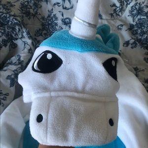 blue and white unicorn onesie, pajamas, costume